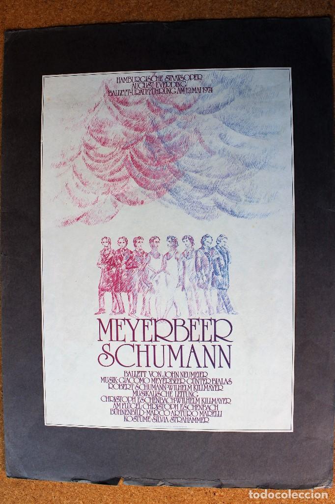 CARTEL ANTIGUO ORIGINAL - MEYERBEER SCHUMANN - 35 X 25 CM USADO (Arte - Láminas Antiguas)
