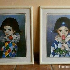 Arte: DOS CUADROS CON LAMINAS DE PIERROT - MARCOS MADERA LACADA BLANCA 53,5 X 43,5 CM -PAYASO COMEDIA ARTE. Lote 118097023