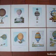 Art: OCHO LITOGRAFIAS DE GLOBOS AEROSTATICOS. Lote 120971495