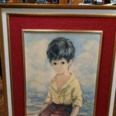 Arte: LAMINA DE UN NIÑO, AÑOS 60 DE DALLAS SIMPSON, 60 X80 CM. Lote 122243008