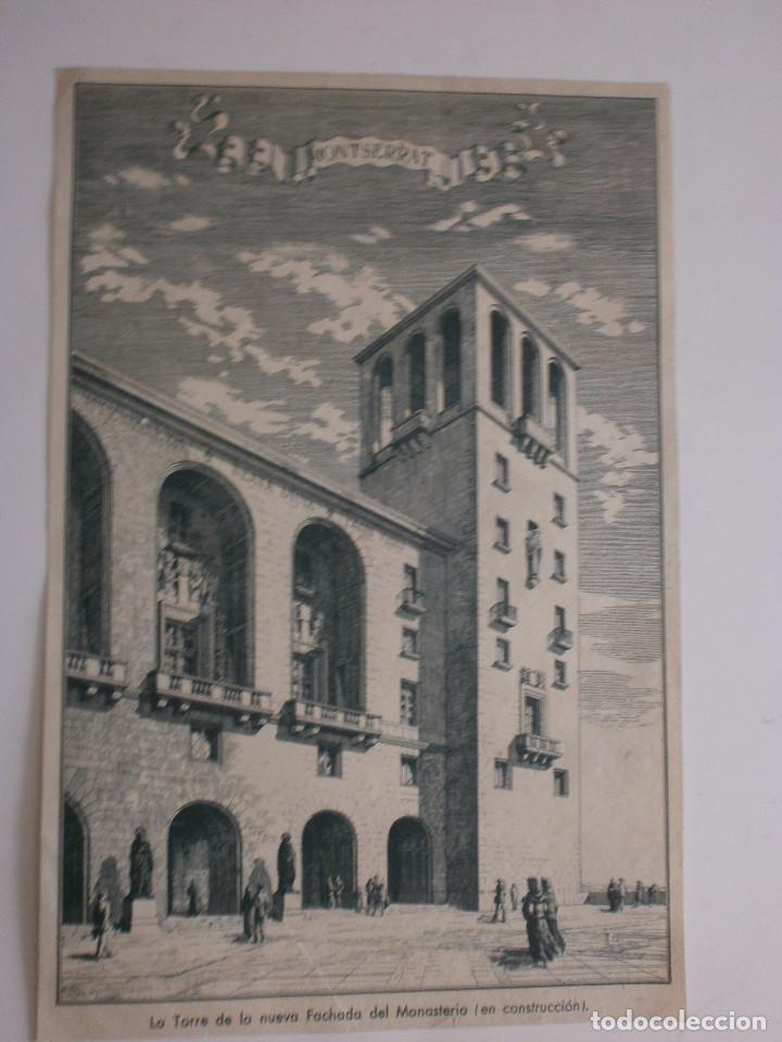 LÁMINA LA TORRE DE LA NUEVA FACHADA DEL MONASTERIO ( EN CONSTRUCCIÓN ) DE MONTSERRAT (Arte - Láminas Antiguas)