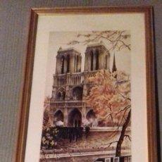 Arte: VISTA NOTRE DAME PARIS. LÁMINA DEL ARTISTA ORTIZ ALFAU. 1978. ENMARCADA. MIDE: 60,5 X 28,5 CM. Lote 124664615