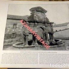 Arte: LAMINA FOTOGRAFICA DE BAEZA, FUENTE MONUMENTAL DE LA PLAZA DE SANTA MARIA, AÑO 1896. 20 X 25 CM.. Lote 124915643