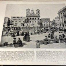 Arte: LAMINA FOTOGRAFICA DE MURCIA, PLAZA DE SANTO DOMINGO. AÑO 1896. 25 X 20 CM.. Lote 125077187