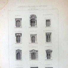 Arte: PORTES D'ALLÉE À PARIS. L'ARCHITECTURE PRIVÉE AU XIXME SIÈCLE. 1877. Lote 126363131