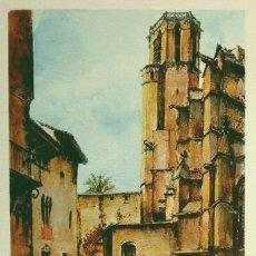 Arte: OBRA DE S. SABATES (1960) LAMINA REPRODUCCION - TEMA: BARCELONA ABSIDE DE LA CATEDRAL. Lote 84280404