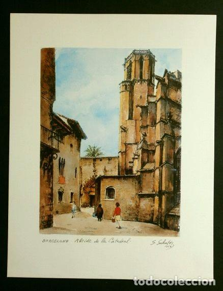 Arte: OBRA DE S. SABATES (1960) LAMINA REPRODUCCION - TEMA: BARCELONA Abside de la Catedral - Foto 2 - 84280404