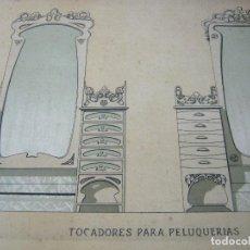 Art: BELLA LAMINA 1900/20 - TOCADORES PARA PELUQUERIA - CARPINTERIA ARTISTICA MODERNISTA. Lote 129325811