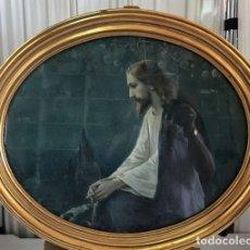 Arte: CUADRO OVALADO CON LAMINA ANTIGUA DE JESUS. Lote 130079391