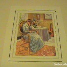 Arte: LAMINA PARA CUADROS, MUJER SENTADA, SALAMANCA (15CMX18CM),. Lote 130372982