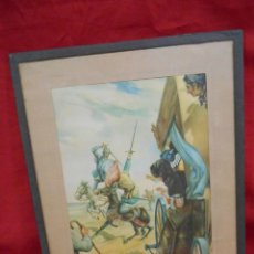 Arte: ANTIGUA LAMINA ENMARCADA SOBRE CRISTAL DE PASAJES DEL QUIJOTE - AÑOS 30-40 -. Lote 132099814