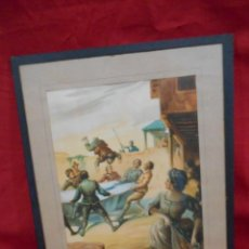 Arte: ANTIGUA LAMINA ENMARCADA SOBRE CRISTAL DE PASAJES DEL QUIJOTE - AÑOS 30-40 -. Lote 132099862