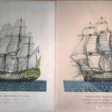 Arte: NAVÍO REAL CARLOS Y NAVÍO SANTÍSIMA TRINIDAD. Lote 133215518