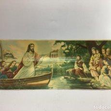 Arte: ANTIGUA LAMINA DE JESUS PREDICANDO EN UNA BARCA - 78 X 36 CMS.. Lote 133750258