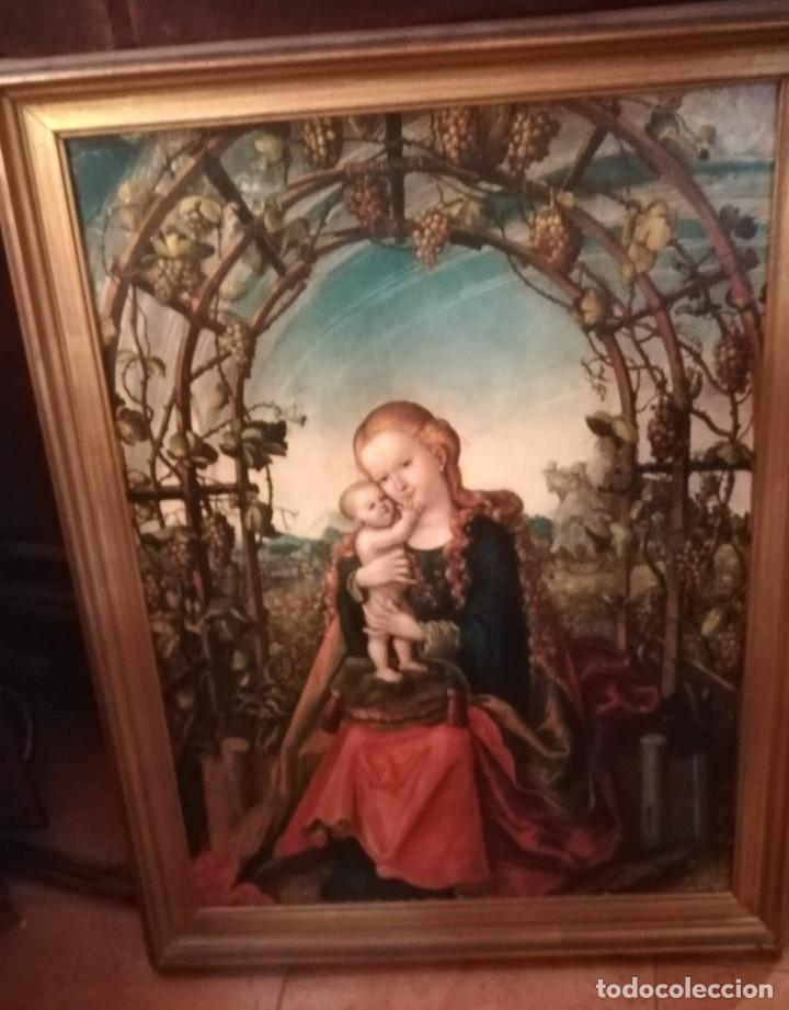 LÁMINA ANTIGUA ENMARCADA DE LA VIRGEN CON EL NIÑO (Arte - Láminas Antiguas)