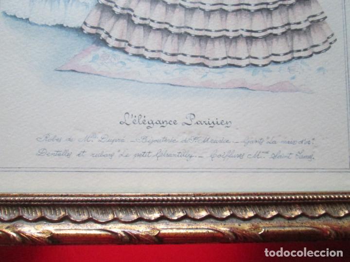 Arte: LOTE 2 CUADROS-MARCO+CRISTAL-LA ELEGANCIA PARISINA-PERFECTO ESTADO-VER FOTOS - Foto 12 - 136223638