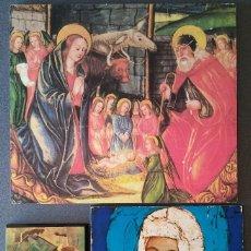 Arte: LAMINAS SOBRE MADERA VIRGEN MARIA CON NIÑO JESUS SAN JOSE. Lote 137823098