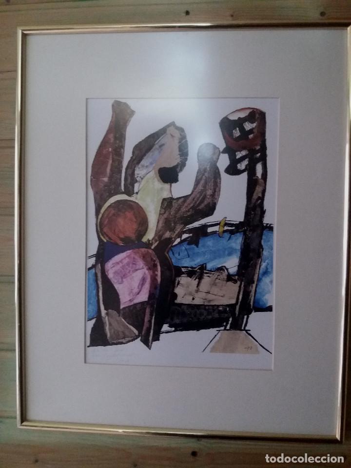 LÁMINA JORDI GISPERT (SALT -GIRONA) CON DEDICATORIA DEL AUTOR -ENMARCADO (Arte - Láminas Antiguas)