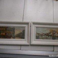 Arte: PAREJA DE CUADROS LÁMINAS PARÍS IMPRESAS SOBRE TABLEX MARCO BLANCO MEDIDA 26,5 X 22,5 CM.. Lote 139720790