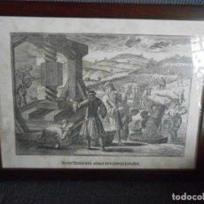 Arte: LÁMINA ALEMANA -ESCENAS RURALES -RECOGIDA DE LA UVA Y ELABORACIÓN DEL VINO. Lote 140878934