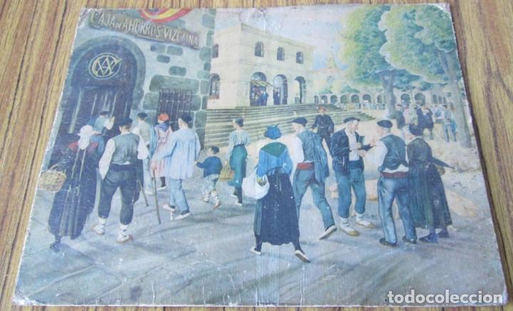 LÁMINA PAISAJE CON VASCOS - ESTILO ARRUE - PROPAGANDA LA CAJA DE AHORROS VIZCAINA (Arte - Láminas Antiguas)