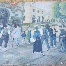Arte: LÁMINA PAISAJE CON VASCOS - ESTILO ARRUE - PROPAGANDA LA CAJA DE AHORROS VIZCAINA. Lote 141145062