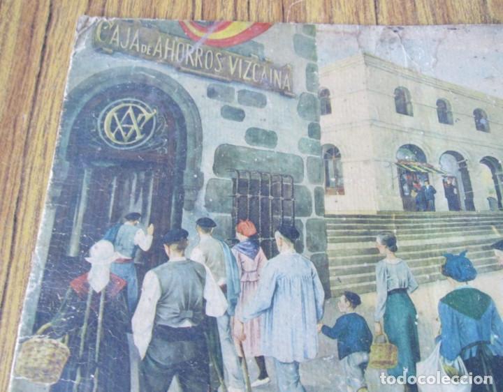 Arte: Lámina paisaje con vascos - Estilo Arrue - Propaganda la caja de ahorros Vizcaina - Foto 3 - 141145062
