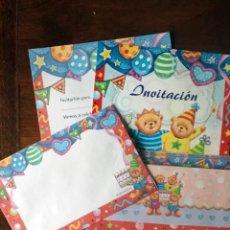 Arte: 8 INVITACIONES PARA CUMPLEAÑOS INFANTIL OSITOS. Lote 141936670