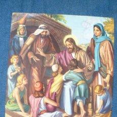 Arte: ANTIGUA LÁMINA - CARACTER RELIGIOSO - JESUCRISTO CON LOS NIÑOS. Lote 142148650