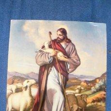Arte: ANTIGUA LAMINA DE CARACTER RELIGIOSO - JESUCRISTO Y SU REBAÑO. Lote 142150226