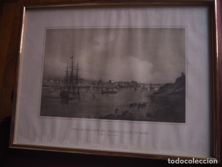 Arte: Mahon. 2 distintas Vistas de una parte del puerto y ciudad de Mahon. 1956. Enmarcadas - Foto 2 - 142222646