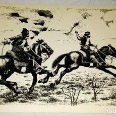 Arte: ARBIO - GAUCHOS A CABALLO - ANTIGUA REPRODUCCIÓN ORIGINAL - 22,5X32CM. Lote 142920966