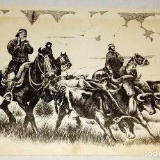 Arte: ARBIO - GAUCHOS A CABALLO DIRIGIENDO EL GANADO - ANTIGUA REPRODUCCIÓN ORIGINAL - 22,5X32CM. Lote 142921154