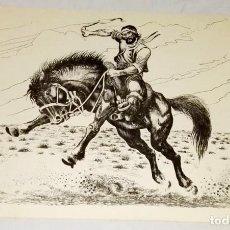 Arte: ARBIO - GAUCHO DOMANDO UN CABALLO - ANTIGUA REPRODUCCIÓN ORIGINAL - 22,5X32CM. Lote 142921790