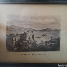 Arte: SA PENYA - IBIZA AÑO 1895 - F A BROCKHAUS (FIRMA DIBUJO) 25X20(ENMARCADO). Lote 143138361