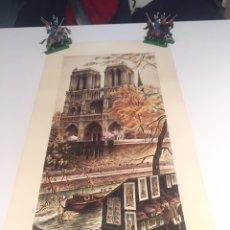 Arte: LAMINA DEL ARTISTA ORTIZ ALFAU 1973 PARIS NOTRE DAME 58X26CM. Lote 144488606