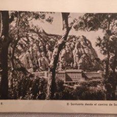Arte: ANTIGUA LAMINA HUECOGRABADO BARCELONA VIRGEN DE MONTSERRAT - SANTUARIO VISTO DE SAN MIGUEL. Lote 144845346