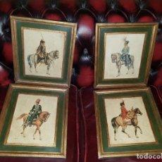 Arte: LOTE DE 4 CUADROS DE SOLDADOS DE CABALLERÍA. Lote 145281514