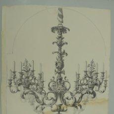 Arte: LAMINA DE DISEÑO DE LAMPARA ANTIGUA . Lote 146365262
