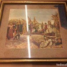 Arte: ANTIGUO MARCO DE LATÓN, CON DORSO METALICO, Y LAMINA DE CRISTOBAL COLON. MIDE APROX 34X30CMS. Lote 147221594