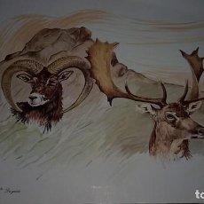 Art: PINTURA LÁMINA MONTÉS Y CIERVO (DAMIÁN RETAMAR) - DAYAIZA 1999 . Lote 147234634