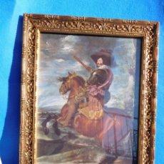 Arte: CONDE-DUQUE DE OLIVARES A CABALLO, LÁMINA SOBRE TABLA 32X22, MARCO DE MADERA, 40 X 30 CM, CRISTAL.. Lote 147545866