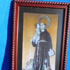 Arte: SAN CRISTOBAL, LAMINA SOBRE TABLA 28X35, MARCO DE MADERA 41X33, PASPARTÚ. Lote 147546610