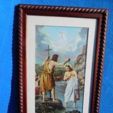 Arte: BAUTISMO DE JESÚS, LAMINA SOBRE TABLA 28X35, MARCO DE MADERA 41X33, PASPARTÚ. Lote 147546774