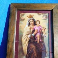 Arte: VIRGEN DEL CARMEN, LÁMINA SOBRE TABLA 28 X 17, MARCO DE MADERA, 36 X 27 CM, CRISTAL. PASPT. . Lote 147547642
