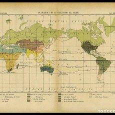 Arte: ANTIGUO MAPA DEL PLANISFERIO DE LA VEGETACIÓN EN EL GLOBO. Lote 147569526
