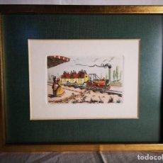 Arte: ANTIGUA LÁMINA DE ESTACIÓN FERROVARIA.. Lote 147786998