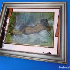 Arte: RELIEVE, MUJER DESNUDA MARCO DE MADERA, 36 X 27 CM, . Lote 148581018