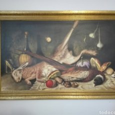 Arte: PRECIOSO BODEGON DE GRANDES DIMENSIONES 113,5 X 74 CMS. MARCO MADERA DORADA.. Lote 148777636