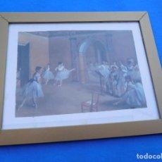 Arte: CLASE DE DANZA EN LA OPERA. DE E. H. DEGAS,1872, MARCO DE 53 X 41 CM. Lote 149904538